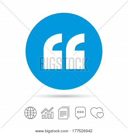 Quote sign icon. Quotation mark symbol. Double quotes at the beginning of words. Copy files, chat speech bubble and chart web icons. Vector