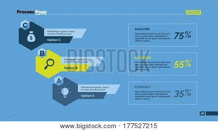 Three hexagons percentage chart. Business data. Comparison, diagram, design. Concept for infographic, presentation, report. Can be used for topics like analysis, statistics, research.