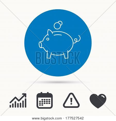 Piggy bank icon. Money economy sign. Financial investment symbol. Calendar, attention sign and growth chart. Button with web icon. Vector