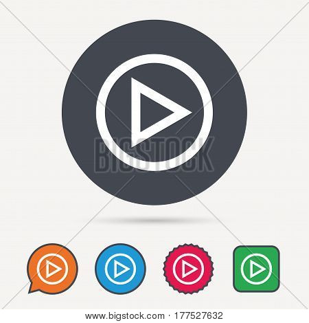 Play icon. Audio or Video player symbol. Circle, speech bubble and star buttons. Flat web icons. Vector