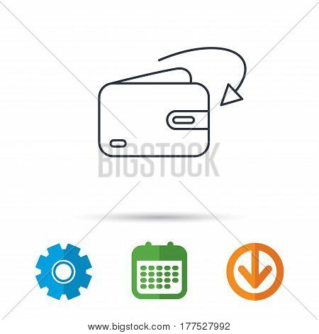 Receive money icon. Cash wallet sign. Calendar, cogwheel and download arrow signs. Colored flat web icons. Vector