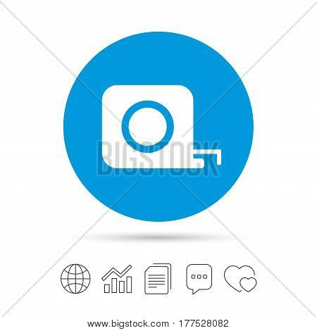 Roulette construction sign icon. Tape measure symbol. Copy files, chat speech bubble and chart web icons. Vector