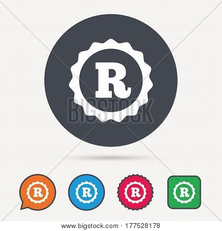Registered trademark icon. Intellectual work protection symbol. Circle, speech bubble and star buttons. Flat web icons. Vector