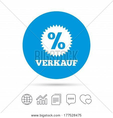 Verkauf - Sale in German sign icon. Star with percentage symbol. Copy files, chat speech bubble and chart web icons. Vector