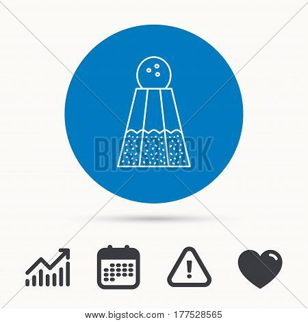 Salt icon. Sodium spice sign. Cooking ingredient symbol. Calendar, attention sign and growth chart. Button with web icon. Vector