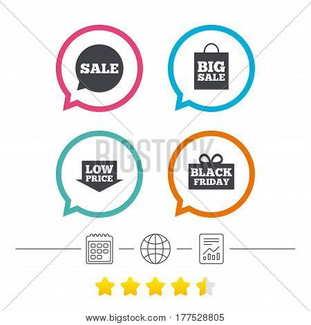Sale speech bubble icon. Black friday gift box symbol. Big sale shopping bag. Low price arrow sign. Calendar, internet globe and report linear icons. Star vote ranking. Vector