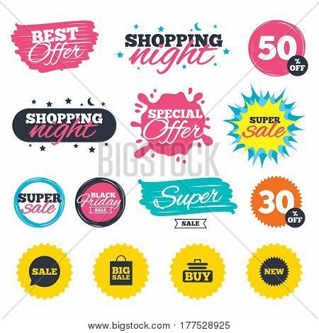 Sale shopping banners. Special offer splash. Sale speech bubble icon. Buy cart symbol. New star circle sign. Big sale shopping bag. Web badges and stickers. Best offer. Vector