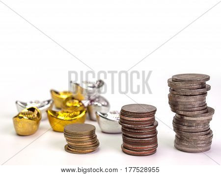 Rows of coins shows an increase for finance and banking concept. (with free copyspace for text)