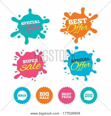 Best offer and sale splash banners. Sale icons. Special offer speech bubbles symbols. Big sale and best price shopping signs. Web shopping labels. Vector
