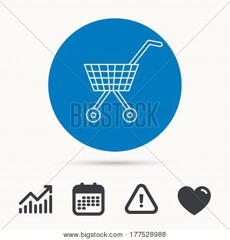 Shopping cart icon. Market buying sign. Calendar, attention sign and growth chart. Button with web icon. Vector