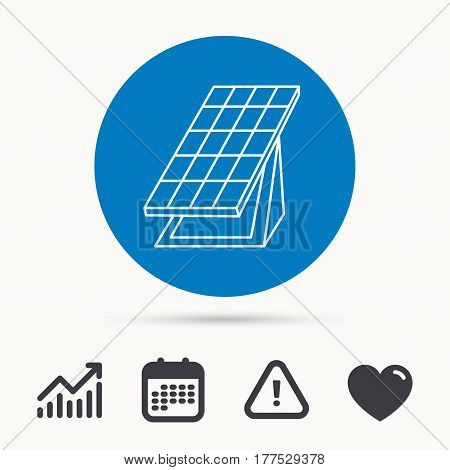 Solar collector icon. Sunlight energy generation sign. Innovation battery power symbol. Calendar, attention sign and growth chart. Button with web icon. Vector