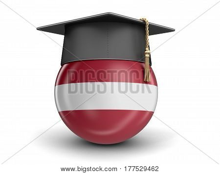 3D Illustration. Graduation cap and Latvian flag. Image with clipping path