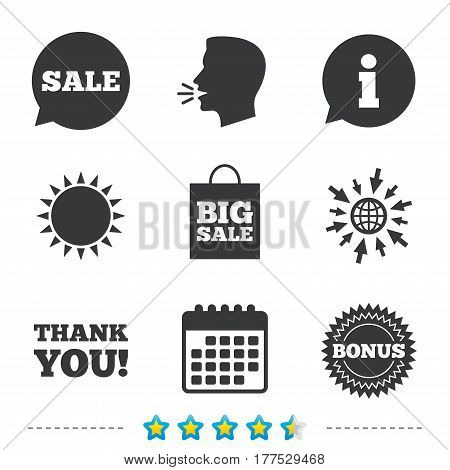 Sale speech bubble icon. Thank you symbol. Bonus star circle sign. Big sale shopping bag. Information, go to web and calendar icons. Sun and loud speak symbol. Vector