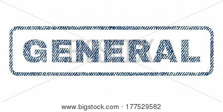 General text textile seal stamp watermark. Blue jeans fabric vectorized texture. Vector caption inside rounded rectangular banner. Rubber sticker with fiber textile structure.