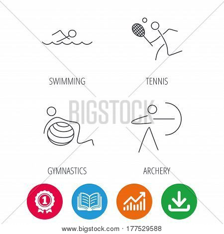 Swimming, tennis and gymnastics icons. Archery linear sign. Award medal, growth chart and opened book web icons. Download arrow. Vector
