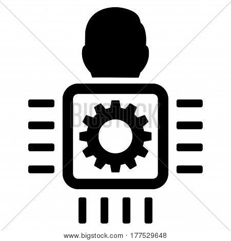 Cyborg Processor vector icon. Flat black symbol. Pictogram is isolated on a white background. Designed for web and software interfaces.