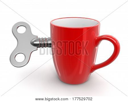 3D Illustration. Cup and Windind key. Image with clipping path