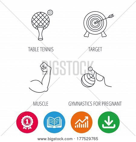 Target, table tennis and biceps icons. Gymnastics for pregnant linear sign. Award medal, growth chart and opened book web icons. Download arrow. Vector
