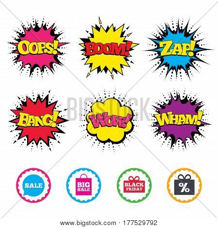 Comic Wow, Oops, Boom and Wham sound effects. Sale speech bubble icon. Black friday gift box symbol. Big sale shopping bag. Discount percent sign. Zap speech bubbles in pop art. Vector