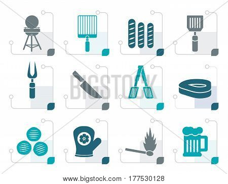 Stylized picnic, barbecue and grill icons - vector icon set