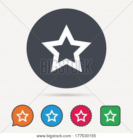 Star icon. Favorite or best sign. Web ranking symbol. Circle, speech bubble and star buttons. Flat web icons. Vector