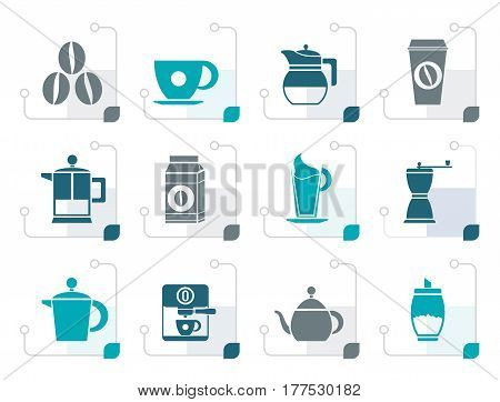Stylizedcoffee industry signs and icons - vector icon set