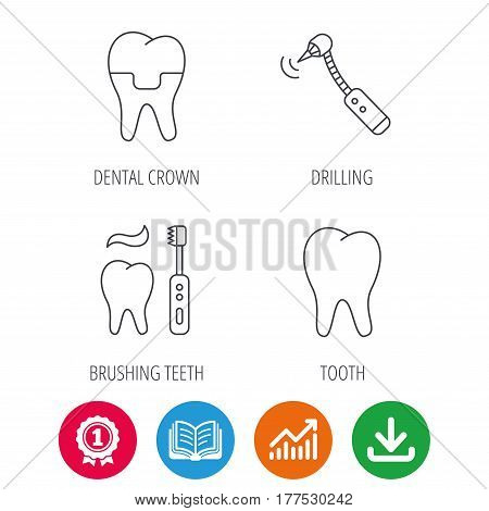 Brushing teeth, tooth and dental crown icons. Drilling tool linear sign. Award medal, growth chart and opened book web icons. Download arrow. Vector