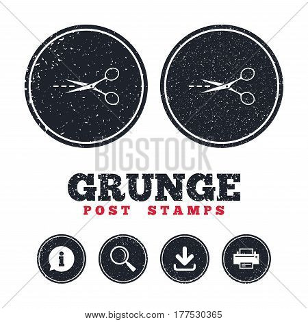 Grunge post stamps. Scissors with cut dash dotted line sign icon. Tailor symbol. Information, download and printer signs. Aged texture web buttons. Vector