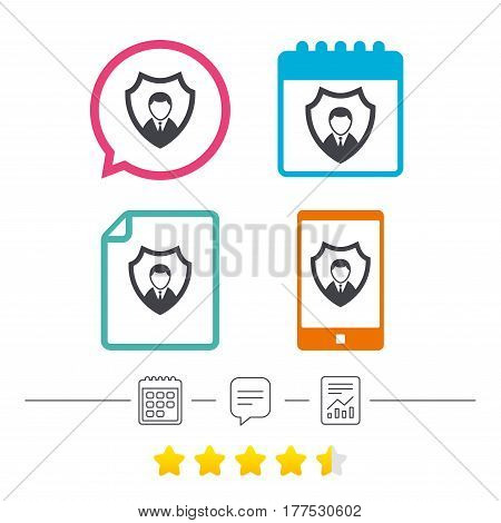 Security agency sign icon. Shield protection symbol. Calendar, chat speech bubble and report linear icons. Star vote ranking. Vector