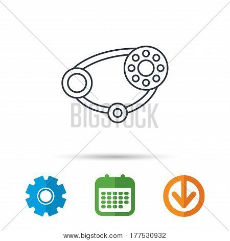 Timing belt icon. Generator strap sign. Repair service symbol. Calendar, cogwheel and download arrow signs. Colored flat web icons. Vector