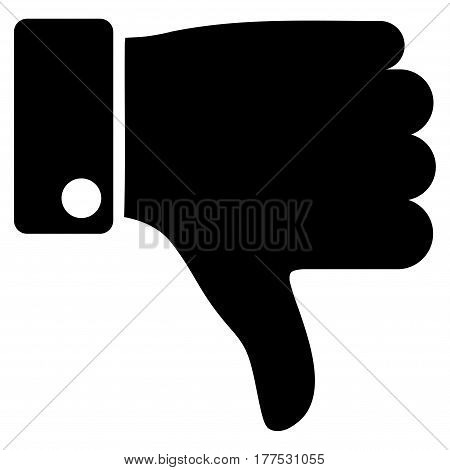 Thumb Down vector icon. Flat black symbol. Pictogram is isolated on a white background. Designed for web and software interfaces.