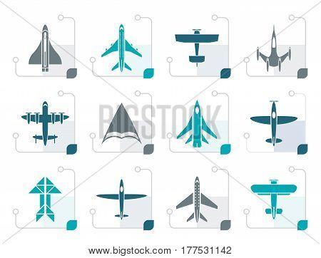 Stylized different types of plane icons - vector icon set