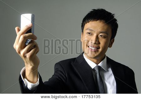 taking a photo with camera phone