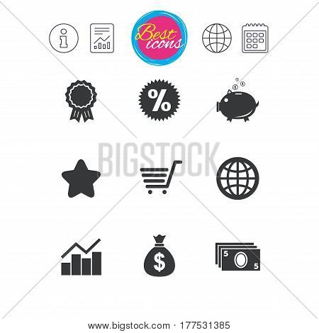 Information, report and calendar signs. Online shopping, e-commerce and business icons. Piggy bank, award and star signs. Cash money, discount and statistics symbols. Classic simple flat web icons