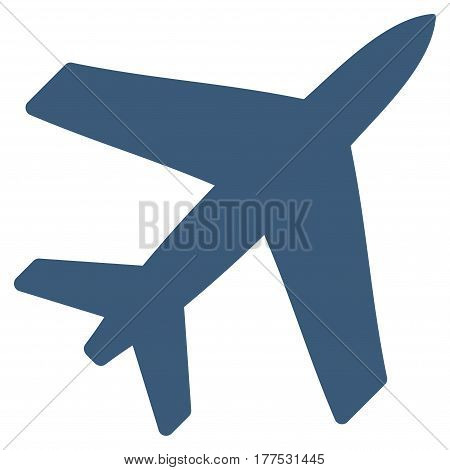 Airplane vector icon. Flat blue symbol. Pictogram is isolated on a white background. Designed for web and software interfaces.