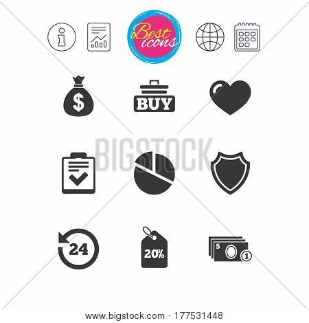 Information, report and calendar signs. Online shopping, e-commerce and business icons. Checklist, like and pie chart signs. Money bag, discount and protection symbols. Classic simple flat web icons