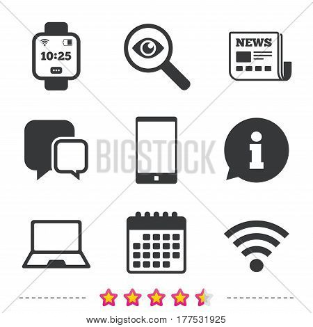 Notebook and smartphone icons. Smart watch symbol. Wi-fi and battery energy signs. Wireless Network symbol. Mobile devices. Newspaper, information and calendar icons. Vector