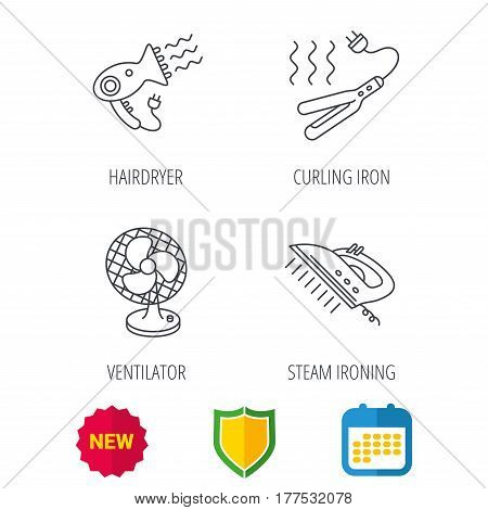 Steam ironing, curling iron and hairdryer icons. Ventilator linear sign. Shield protection, calendar and new tag web icons. Vector
