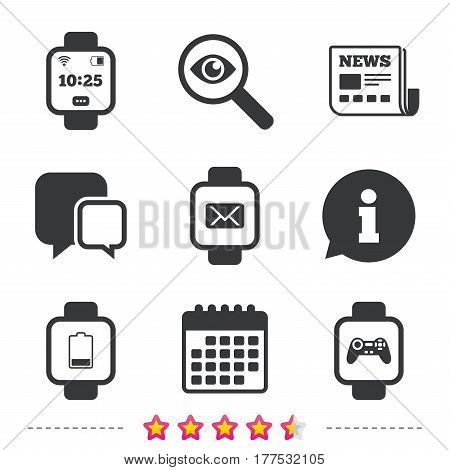 Smart watch icons. Wrist digital time watch symbols. Mail, Game joystick and wi-fi signs. Newspaper, information and calendar icons. Investigate magnifier, chat symbol. Vector