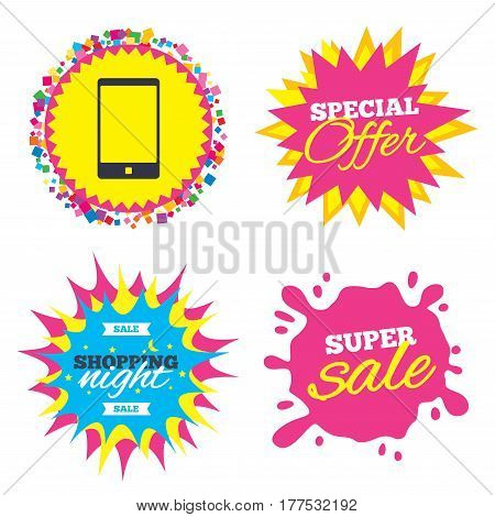 Sale splash banner, special offer star. Smartphone sign icon. Support symbol. Call center. Shopping night star label. Vector