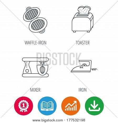 Iron, toaster and blender icons. Waffle-iron linear sign. Award medal, growth chart and opened book web icons. Download arrow. Vector