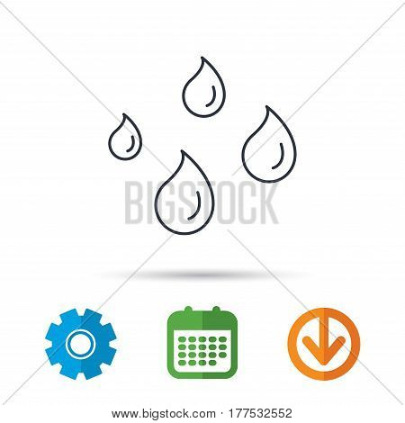Water drops icon. Rain or washing sign. Rainy day symbol. Calendar, cogwheel and download arrow signs. Colored flat web icons. Vector