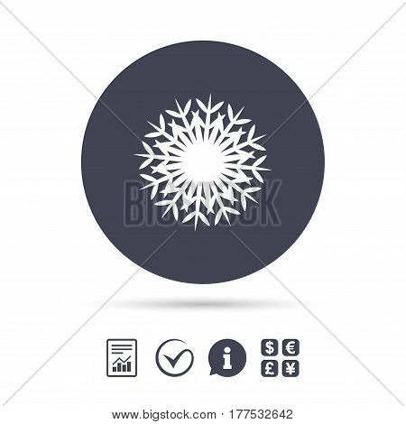 Snowflake artistic sign icon. Christmas and New year winter symbol. Air conditioning symbol. Report document, information and check tick icons. Currency exchange. Vector