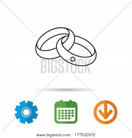 Wedding rings icon. Bride and groom jewelery sign. Calendar, cogwheel and download arrow signs. Colored flat web icons. Vector