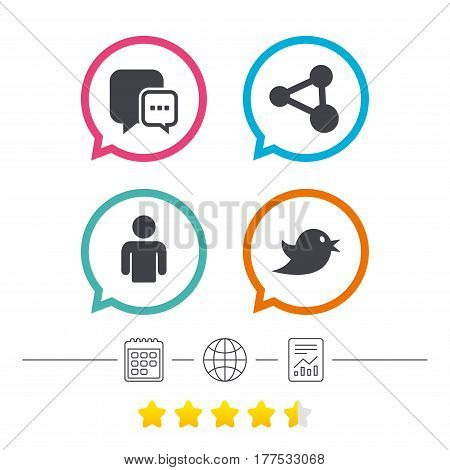Social media icons. Chat speech bubble and Share link symbols. Bird sign. Human person profile. Calendar, internet globe and report linear icons. Star vote ranking. Vector