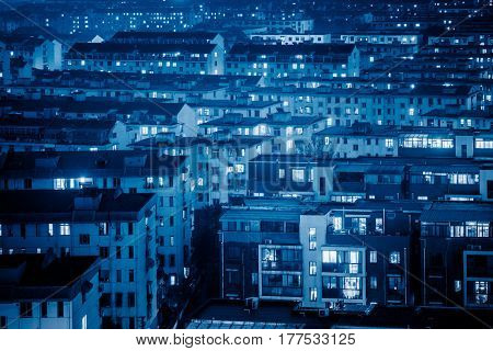 aerial view of residential district in modern city of China.