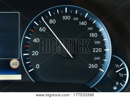 Speedometer of a car showing 70, speeing at the 40 speed limit