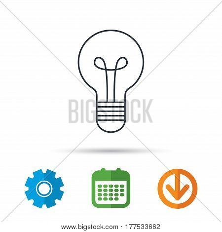Lamp icon. Idea and solution sign. Calendar, cogwheel and download arrow signs. Colored flat web icons. Vector