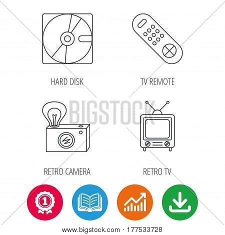 Hard disk, retro camera and TV remote icons. Vintage TV linear sign. Award medal, growth chart and opened book web icons. Download arrow. Vector