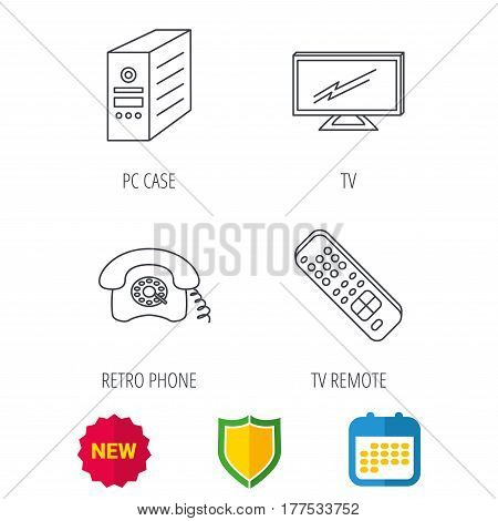 TV remote, retro phone and TV remote icons. Widescreen TV linear sign. Shield protection, calendar and new tag web icons. Vector
